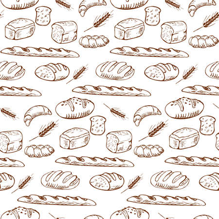 Various types of bread in a playful fashionable modern style, including baguette, bread, flour, loaf, grain. Set of hand drawn bakery products isolated on white background. Stock vector.