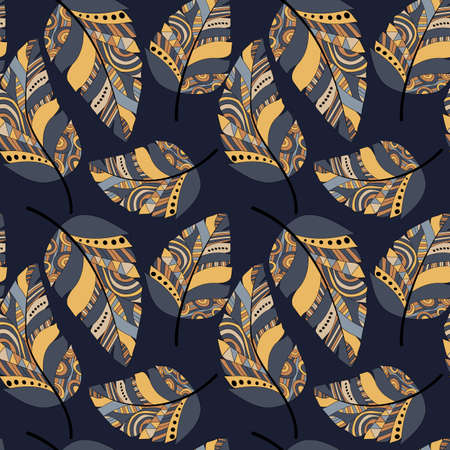 Plumage seamless pattern. Vector isolated plume on dark blue background. Bright colored feathers. Design of fabrics and clothes, wallpaper, scrapbooking, embossing, bedding. Stock vector.