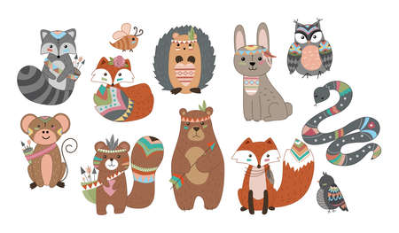 Funny breeding animals. Forest animal cub, cute wild fox, bear and cute bunny, funny owl. Hedgehog with beaver. Isolated cartoon vector symbols icons set.