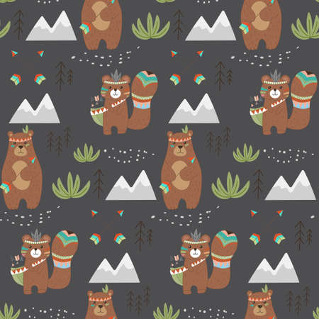 Seamless patterns with bear and beaver. ON a dark background. Vector handmade illustration for printing on T-shirts, bedding, baby clothes and tableware. Cute baby background. Stock vector.