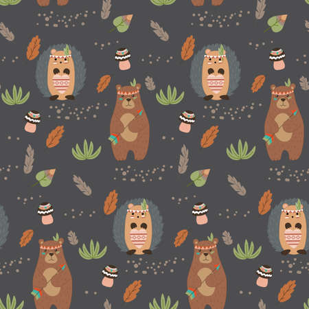 Seamless pattern of hedgehog and beaver. On a dark background. Vector handmade illustration for print, bed linen, baby clothes and tableware. Cute baby background. 矢量图像