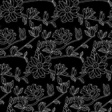 leaves and flowers of magnolia. Seamless background. Hand drawn pictures of nature. Freehand drawing vector illustration.Black background.