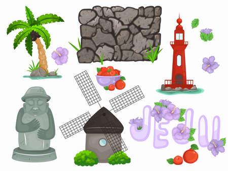 Jeju element illustration. Hand drawn vector illustration EPS10 矢量图像