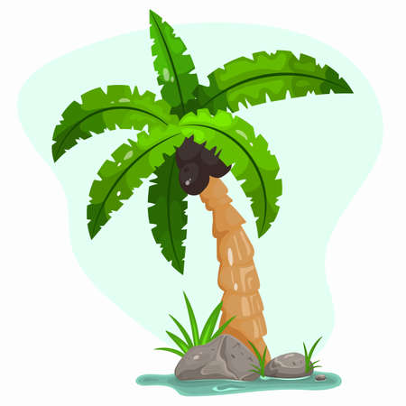 Cartoon palm tree with green leaves is a tropical plant icon from an exotic summer location. Vector illustration. 矢量图像