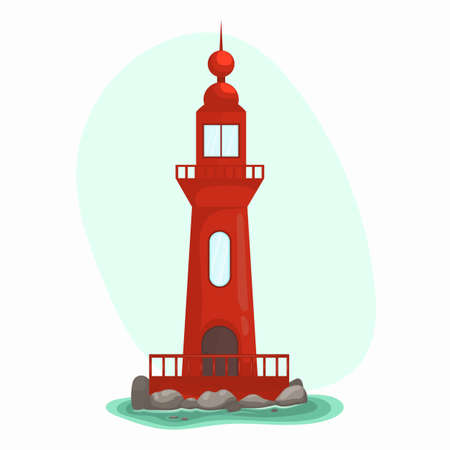 Vector illustration of blue sea background with stones. Lighthouse on the rocks, seascape with blue sky. 矢量图像