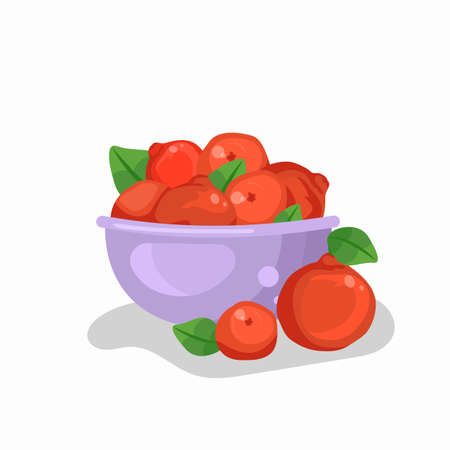 Cute poster with a bowl and citrus fruits. Tangerines in a dish. Vector illustration in cartoon design.