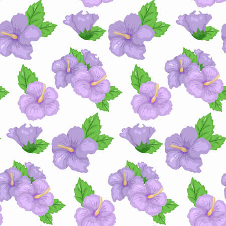 Seamless Hibiscus floral Tropical pattern Design Vector.Collection of hibiscus flowers on a white background.
