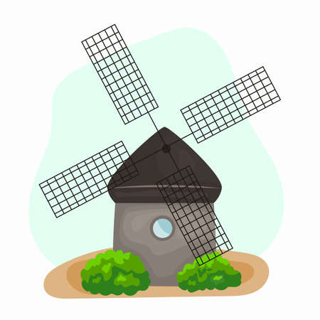 Windmill cartoon traditional rural windmills. Flour mill, grinds grain. Windmill with millstones. Grain processing. Vector illustration.