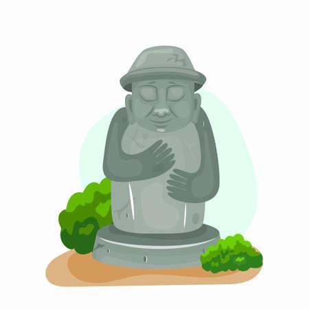 Jeju dol hareubang vector icon illustration. Stone grandfather. Cartoon illustration. 矢量图像