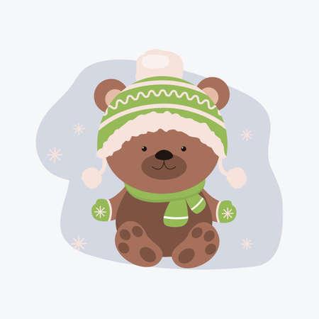 Cute cartoon bear in a hat. Stock vector.