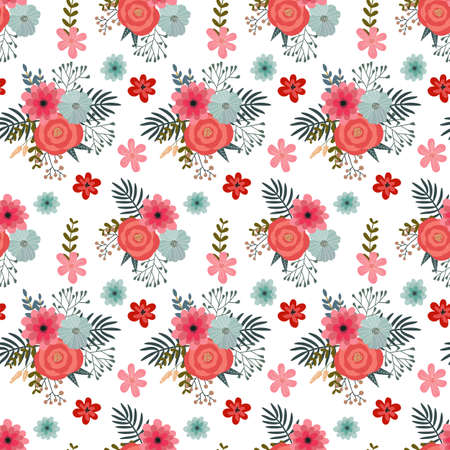 vector pattern with flowers, berries and hearts, use for the day holy valentine, packing, textiles, design of bed linen 矢量图像