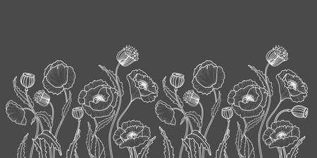 Drawing flowers. Poppy flower clip art or illustration. White line on gray background .