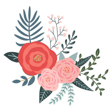A bouquet of flowers and floral elements for your design on a white background. Hand-drawn. 矢量图像