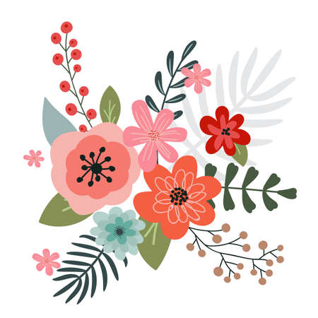 A bouquet of spring flowers and floral elements for your design on a white background. Hand-drawn.