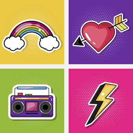 Fashionable stripes with a heart, lightning, music, rainbow. Vector illustration isolated on a colored background.