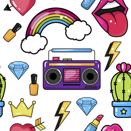 Seamless pattern with trendy lip plasters, cactus, crystal, tape recorder and other elements.