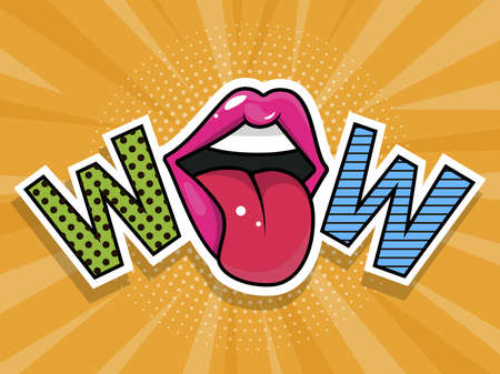 Open mouth and WOW Message in pop art style, promotional background, presentation poster.