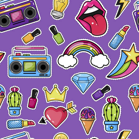Seamless pattern with trendy patch badges with lips, tape recorder, cosmetics and other elements.
