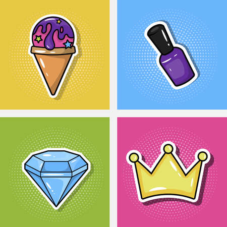 Fashionable crystal patches, crown, nail polish and ice cream. Vector illustration isolated on a colored background.