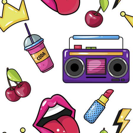 Retro Pop Eighties Boombox Radio Pattern.  イラスト・ベクター素材