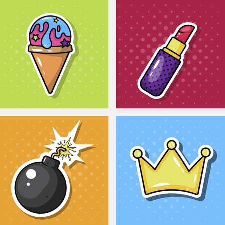 Ice cream, lipstick, bomb and crown icon  イラスト・ベクター素材