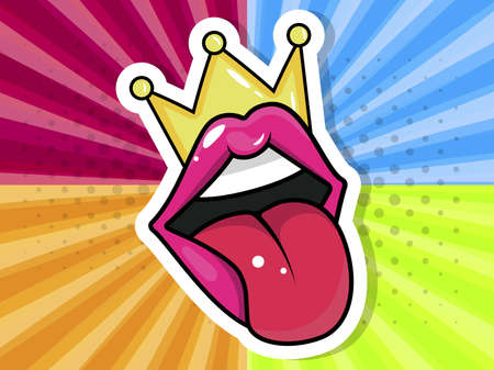 Pink, red lips, mouth and tongue icon on pop art retro vintage