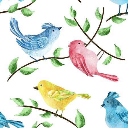 Hand drawing seamless pattern with birds. For card, prints, wallpapers.