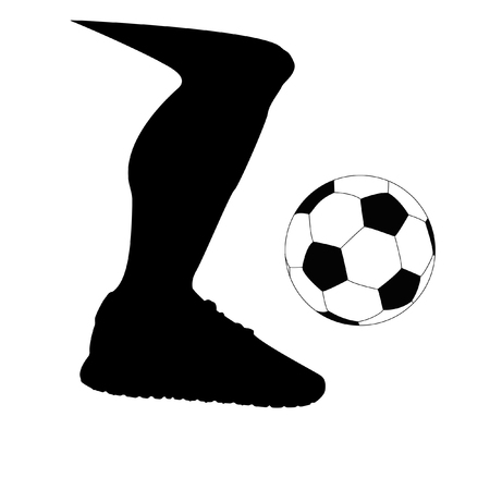 foot ball: Soccer ball foot. Silhouette