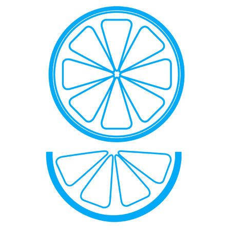 zest: Collect blue lemons isolated on white background, illustration