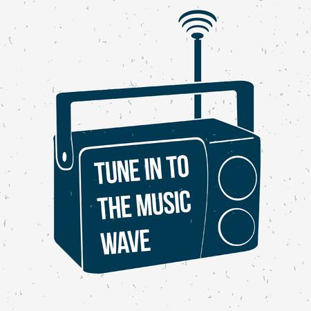 shortwave: Musical wave. Retro. Vector illustration of vintage