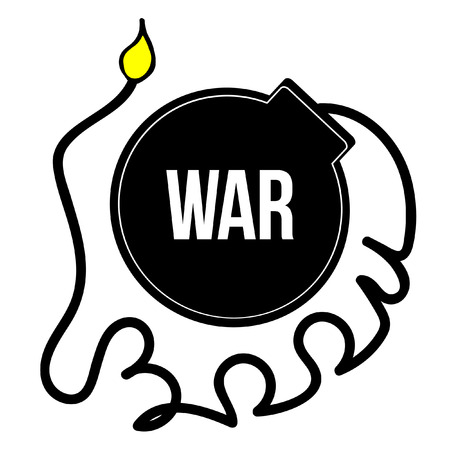 detonation: War logo. Detonation of bomb. The length of the wick Illustration