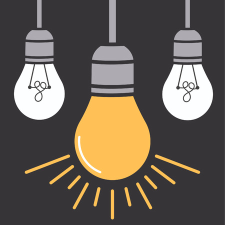 Hanging light bulbs with glowing one on a gray background. illustration for your design. Illustration