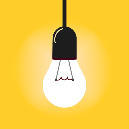 Hanging light bulbs with glowing one on a yellow background. illustration for your design.