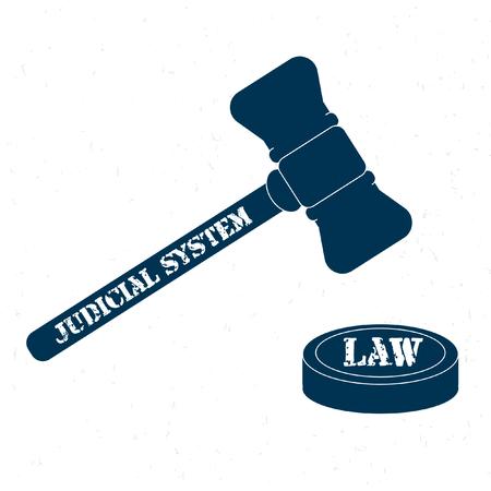 judicial: Retro gavel. Judicial system. Law
