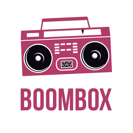 Icon Boombox. Vector isolated image of the tape recorder.