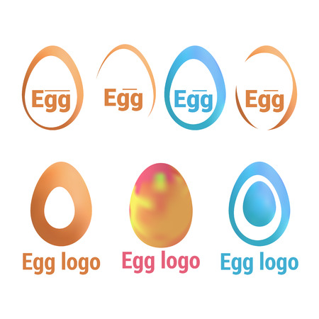 Set of logos with eggs. Fresh produce, sign, sticker, emblem oval shape, simple line art. Vector isolated illustration.