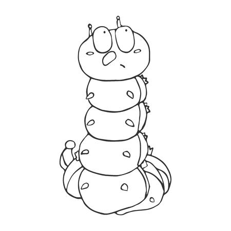 El contorno de la oruga en estilo de dibujos animados. Un bosquejo del insecto. Vector aislado imagen del gusano. La emoción de la sorpresa. Foto de archivo - 73930349