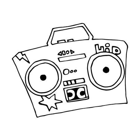 Ghetto blaster boombox sketch drawing on white background. Vector isolated image. Street style hip hop.