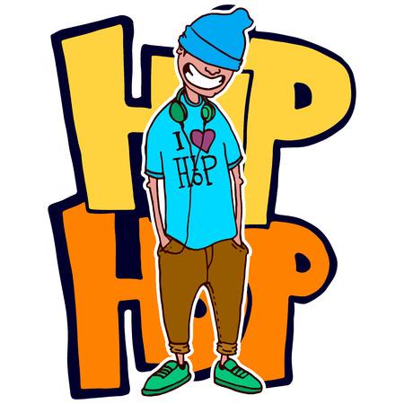 Tiener rapper staat op de achtergrond is op de achtergrond van graffiti. Vector geïsoleerd beeld. Stock Illustratie