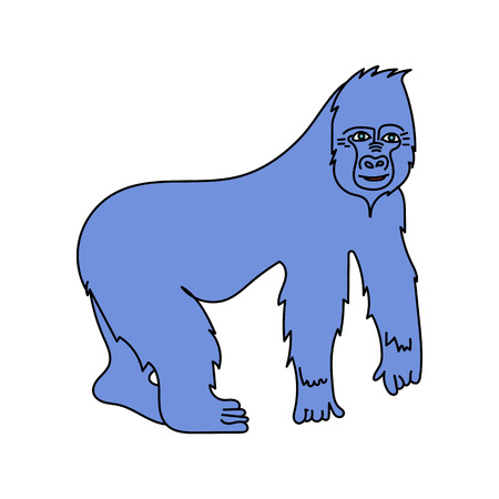 gorila: A big gorilla. Vector isolated image. Cartoon style. For print, icons, and other web resources.