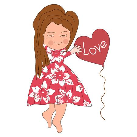 かわいい女の子が愛を言うバルーンを保持します。花をドレスアップします。手書きスタイルの文字。ベクトル分離画像。印刷と web のプロジェクト