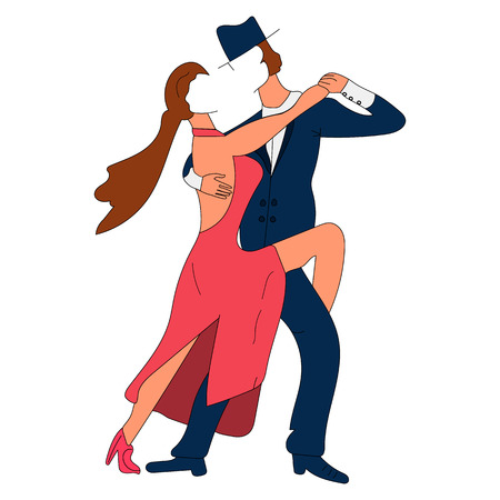Couple man and girl without people dancing tango. The characters in the style of flat. Vector isolated image. For print and web projects. Illustration