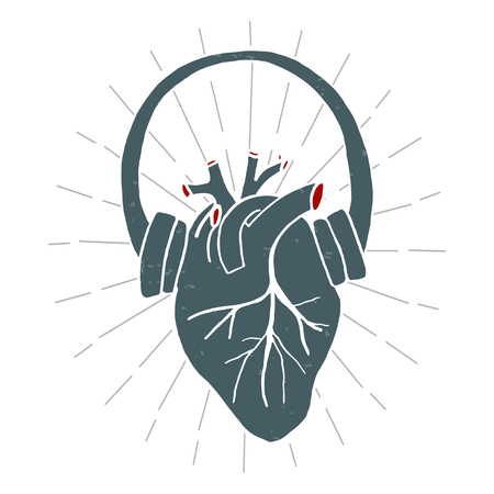Heart with headphones in vintage style. Print isolated vector illustration. Pattern T-Shirt. Print. Poster. Векторная Иллюстрация