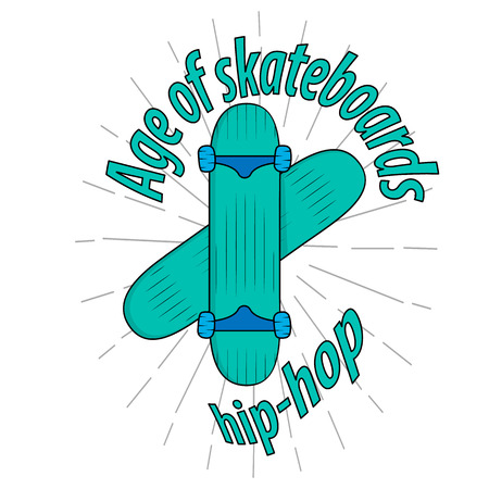 Skateboarding t-shirt design. Quote: age of skateboard, hip-hop. Vector vintage illustration. The concept of street style. Print.