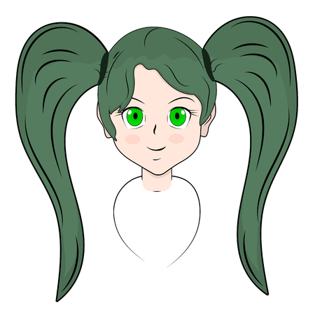 Girls head with pigtails in anime style. Vector isolated image. Cartoon character in the Japanese classic style. Sticker manga. Illustration