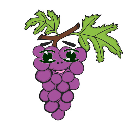Grapes character. Funny doodle cartoon vegetable. Isolated on white background. Stock Photo