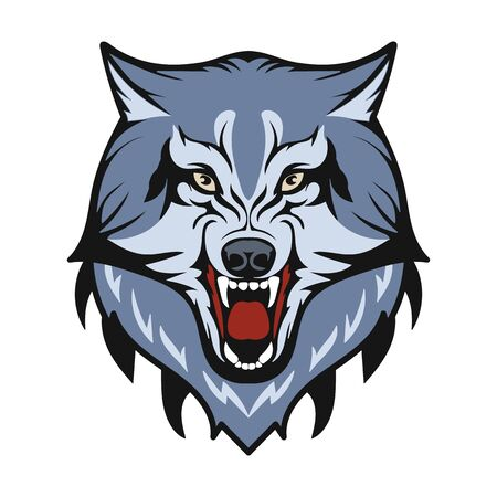 The head of the wolf. The animal gritted its teeth. The totem of a forest dweller. Logo detail. Vector isolated image.