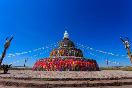 inner mongolia: Oboo in Inner Mongolia Stock Photo