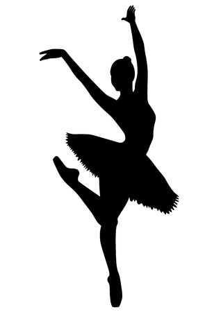 A young girl in a tutu dancing ballet. Vector image on white background, isolated image