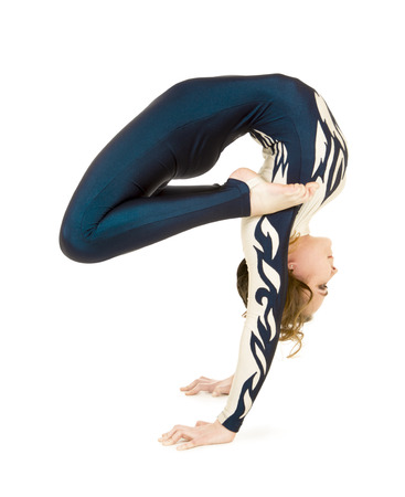 Acrobat acrobatics, practicing acrobatics. Isolated images on white background.